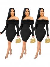 Plush Panel Off The Shoulder Black Long Sleeve Dress