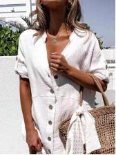 Turndown Neck White Long Sleeve Shirt Dress