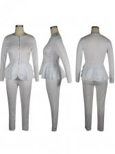 Crew Neck Ruffled Detail Long Sleeve 2 Piece Pants Set