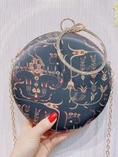 Embroidered Rhinestone mante Handle Round Chain Handbags