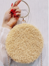 Round Diamante Handle Plush Ladies Handbags With Chain