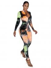 Multicolored Printed Skinny Long Sleeve Jumpsuit