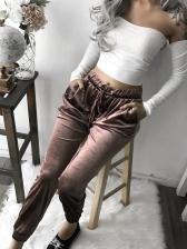 Casual Solid Drawstring Velvet Pants