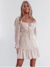 Square Neck Leaves Print A-Line Short Dress
