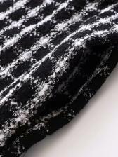 Winter Hooded Plaid Woolen Long Sleeve Dress