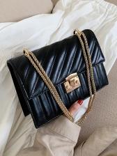 Solid Color Rectangle Thread Design Chain Shoulder Bag