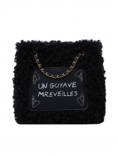 Letter Printing Lambswool Patchwork Chain Shoulder Bag
