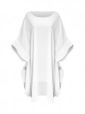 Incline Shoulder Flare Long Sleeve Chiffon Dress