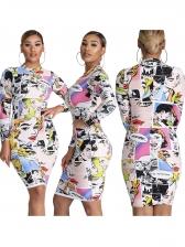 Funny Figure Print Long Sleeve Bodycon Dress