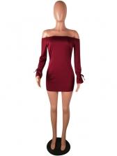 Casual Boat Neck Long Sleeve Mini Dress