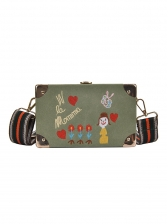 Cartoon Embroidered Rectangle Stripes Belt Shoulder Bag