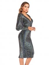 V Neck Midi Long Sleeve Sequin Dress