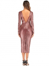 Chic Striped Sequin Long Sleeve Cocktail Party Dress