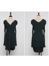 V Neck Tie-Wrap Long Sleeve Bodycon Dress