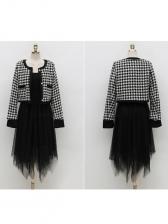 Fashion Irregular Gauze Dress With Houndstooth Coat
