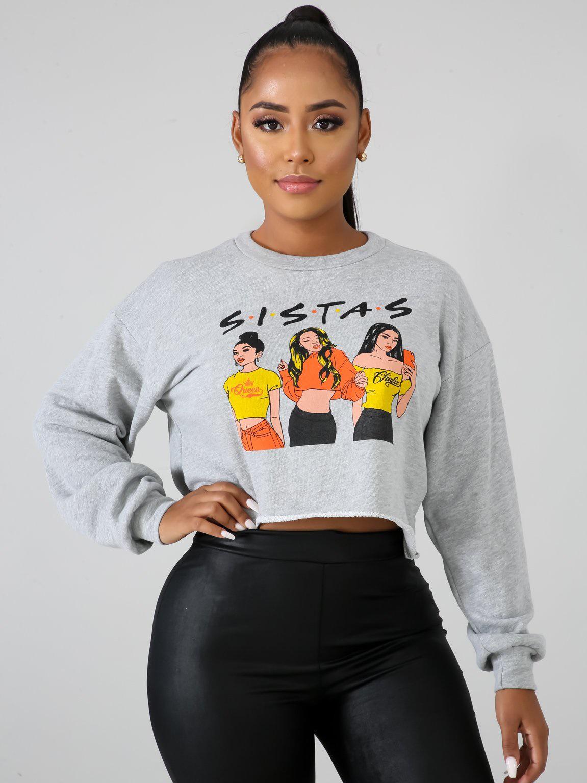Cartoon Characters Printing Women Cropped Sweatshirt