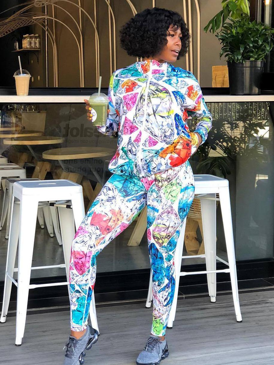Trendy Multicolored Diamond Printing 2 Piece Pants Set
