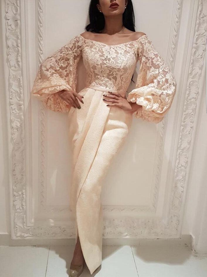 Lace Split Patchwork Off The Shoulder Evening Dress