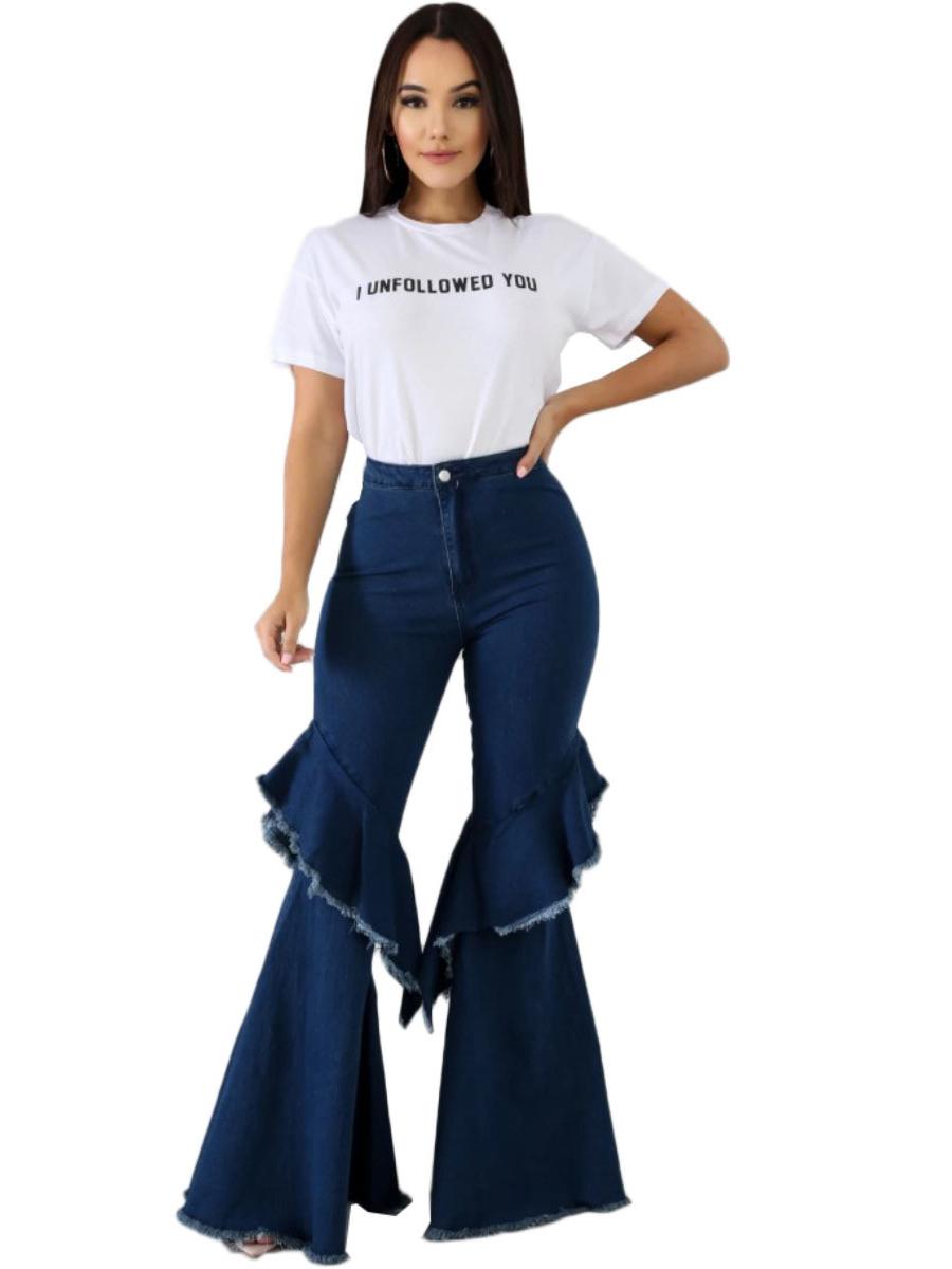 Deep Blue Ruffled Flare Bottom Jeans