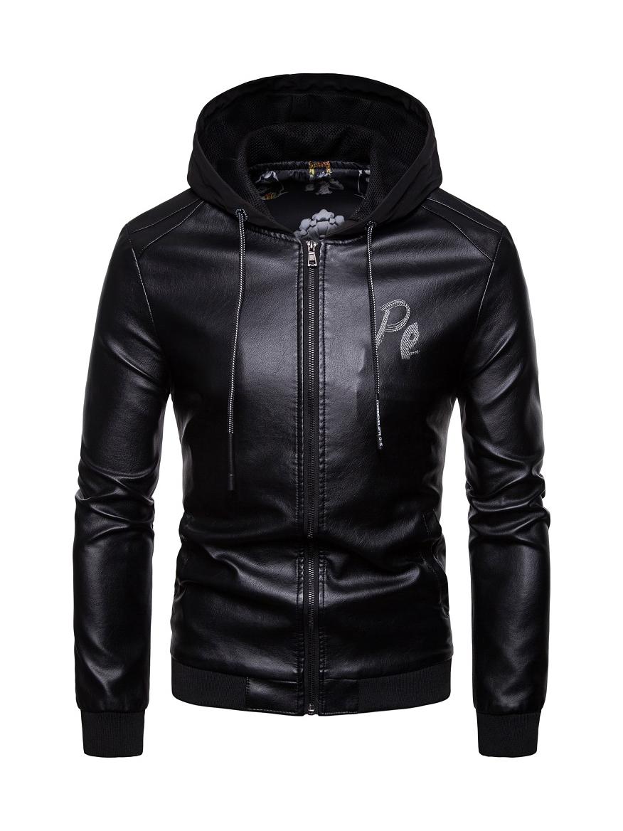Hooded Collar Solid Long Sleeve Pu Coat