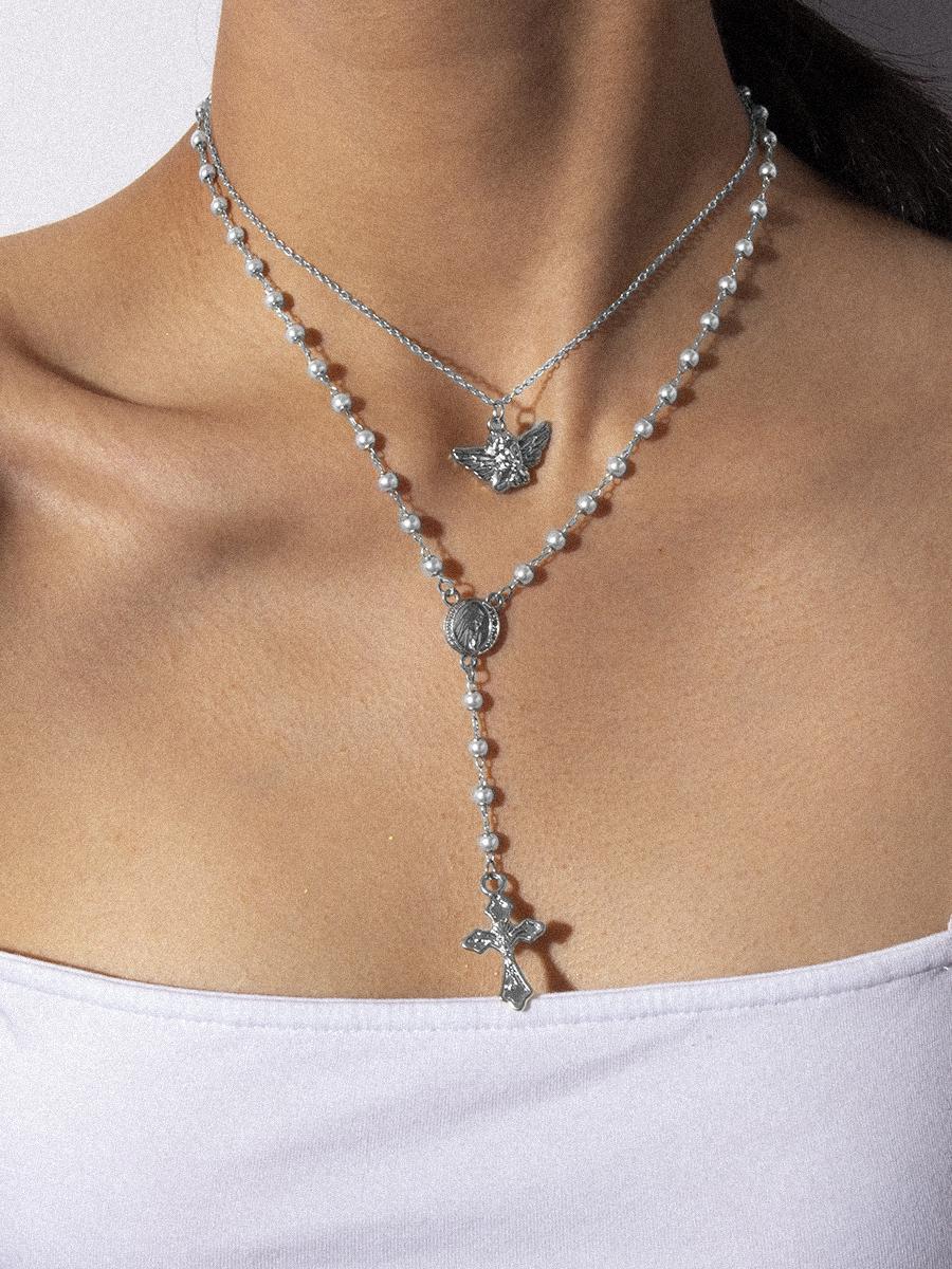 Double-Layer Retro Angel Cross Pendant Necklace
