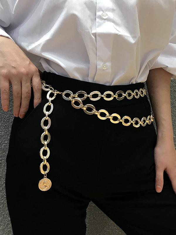 Chic Relief Portrait Pendant Golden Chain Belt