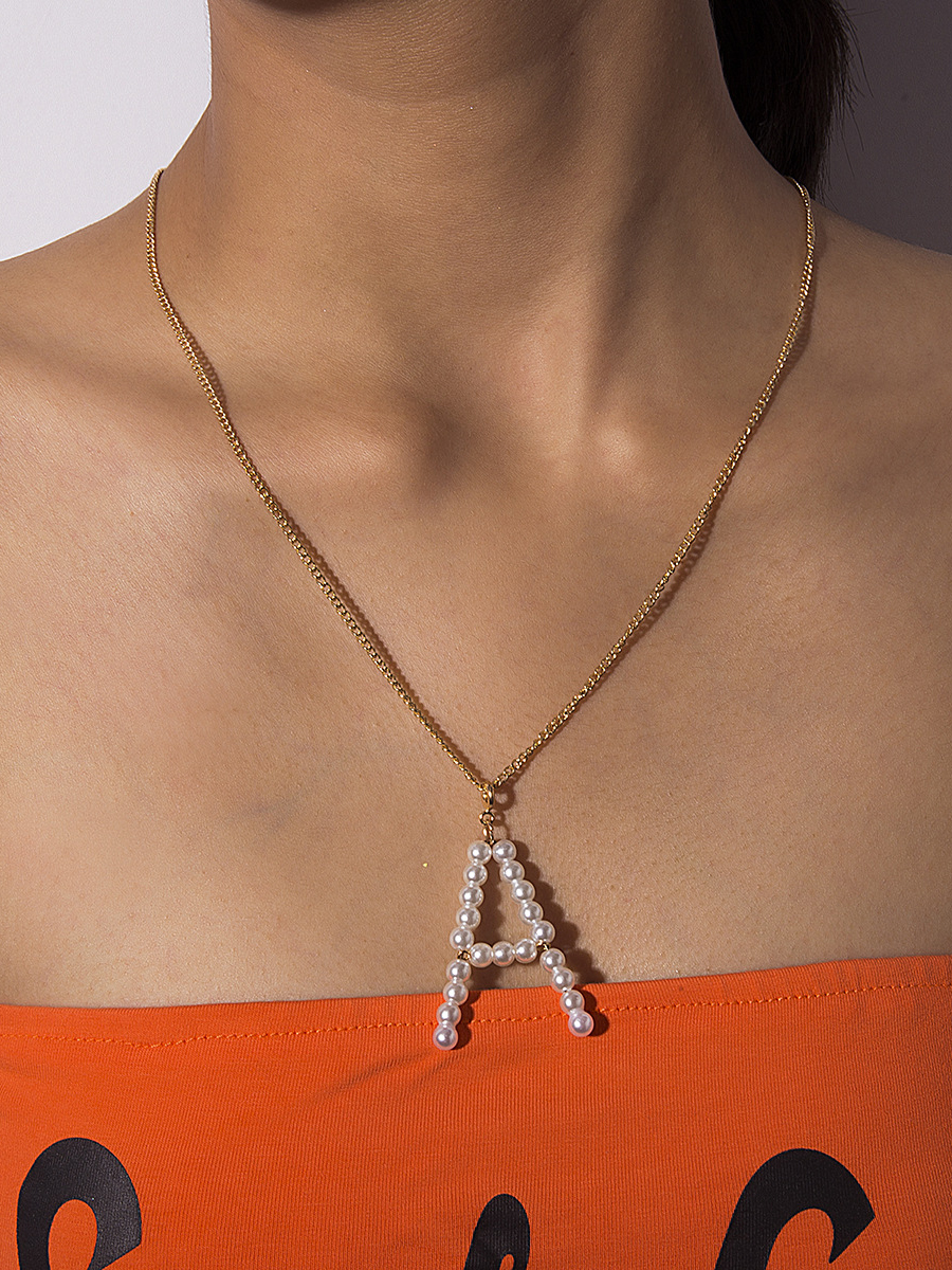 Chic Beading Letter A Chain Necklace