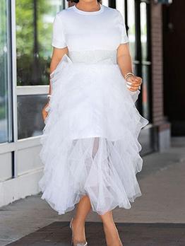 Shirt Dress And Mesh Skirt White Two Piece Dress