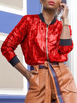 Autumn Glitter Sequins Zipper Up Ladies Coats