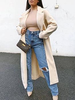 Solid Long Sleeve Winter Fleece Coat