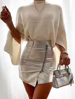 Trendy High Waist Zipper Design Wrap Skirt