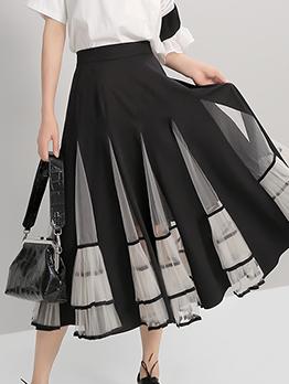 Smart Waist Ruffled Mesh Skirt