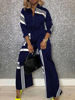 Stand Collar Zipper Up Stripes 2 Piece Activewear Sets