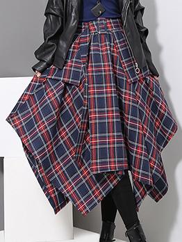 Elastic Waist Irregular Plaid Skirt