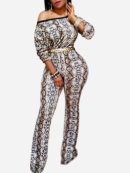 Inclined Shoulder Snake Print Long Sleeve Ladies Jumpsuits