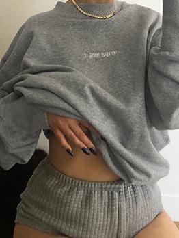 Minimalist Gray Crewneck Sweatshirt For Autumn