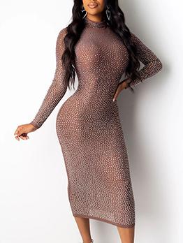 Gauze Rhinestone Decor Long Sleeve Midi Dress
