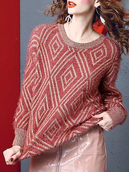 Autumn Rhombus Pattern Women Crew Neck Sweater