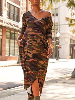 V Neck High-Low Camouflage Midi Dress