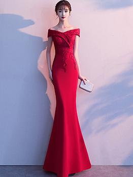 Off Shoulder Lace Patchwork Evening Maxi Dresses