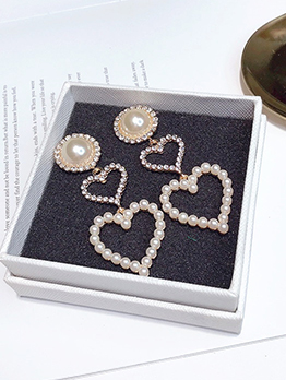 Double Heart Faux Pearl Rhinestone Decor Drop Earrings