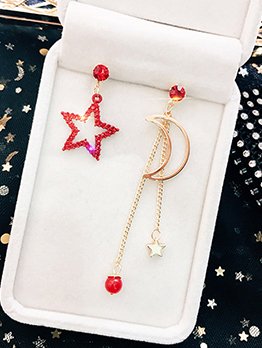 Simple Design Asymmetric Star Moon Long Earrings