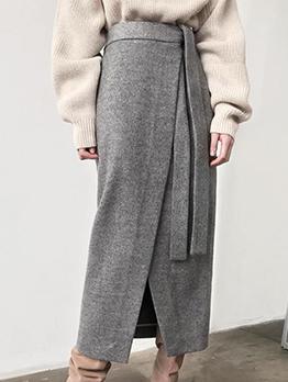 Autumn Tie-Wrap Solid Suede Front Split Midi Skirt