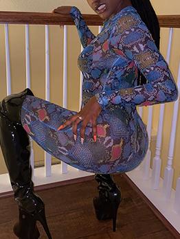 Multicolored Snake Print Skinny Long Sleeve Jumpsuit