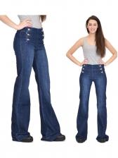 Single Breasted High Waist Denim Jeans
