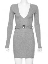 Slim Fit v Neck Knitting Bodycon Dress