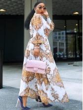 Vintage Printed Long Sleeve Maxi Dress