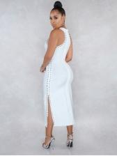 Pure Color Sleeveless Rivet Split Midi Dress