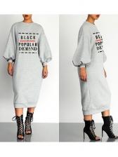 Lantern Sleeve Letter Printed Midi Dress