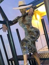 Turtle Neck Leopard Patchwork Midi Dress